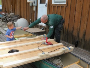 Gramps and grandson helping to build the coring platform.