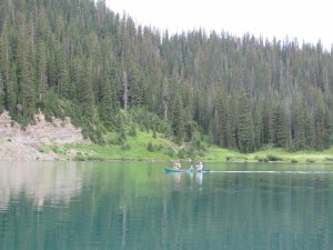 Collecting GPR data at Emerald Lake.